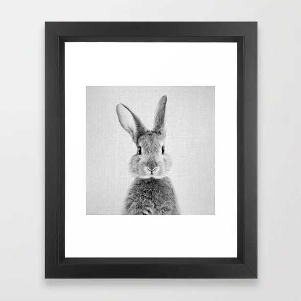 Rabbit - Black & White Framed Art Print, X-small 10 x 12 - Society6