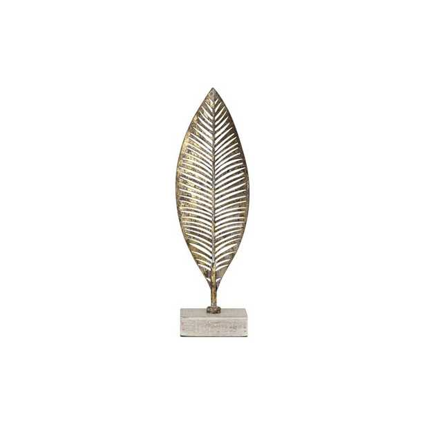 Jackson Heights Metal Leaf on Wood Base Sculpture - Small - Wayfair