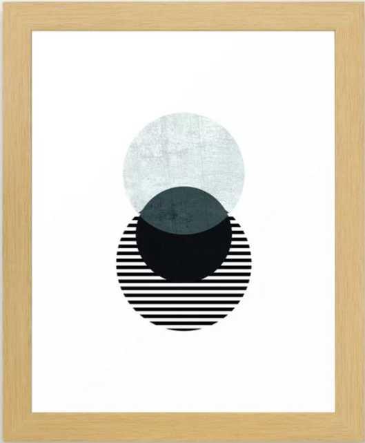 Blue, Black & Striped Circles Framed Art Print, 10 X 12, Conservation Natural - Society6