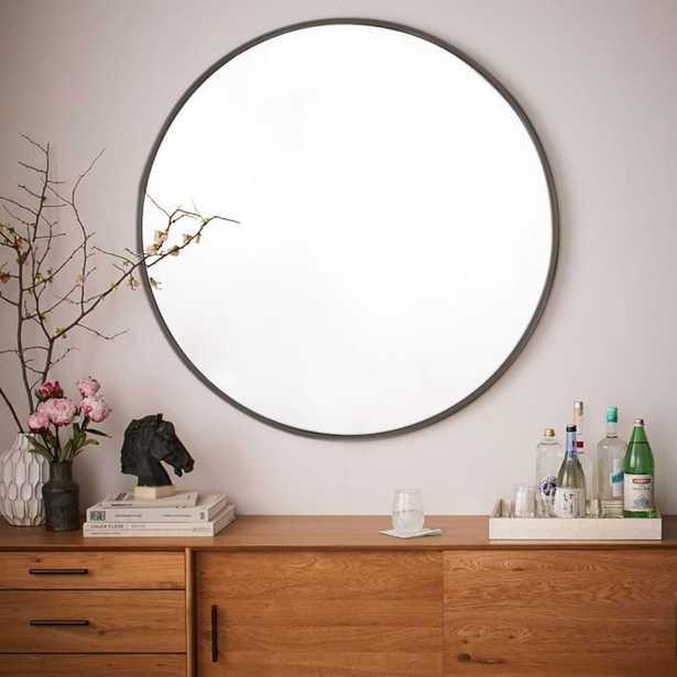 "Metal Framed Oversized Round Mirror, Antiqued Bronze / 48""Dia - West Elm"
