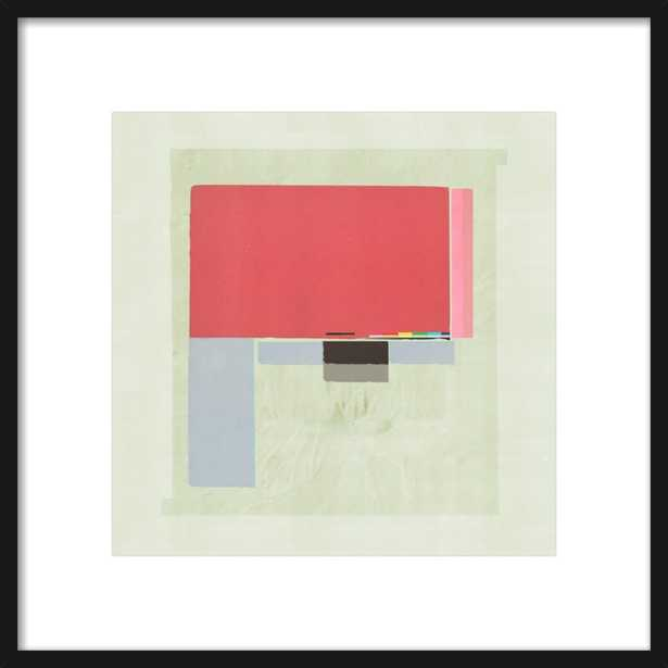 """Abstract Composition 349  - Thin Black Wood Frame with Matte - 20.5"""" x 20.5"""" - Artfully Walls"""