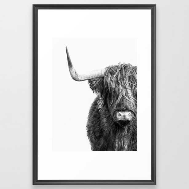 Black and White Highland Cow Portrait Framed Art Print - Society6