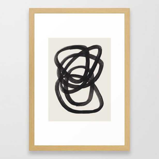 "Mid Century Modern Minimalist Abstract Art Brush Strokes Black & White Ink Art Spiral Circles Framed Art Print // 15"" x 21"" // Conservation Natural Frame - Society6"