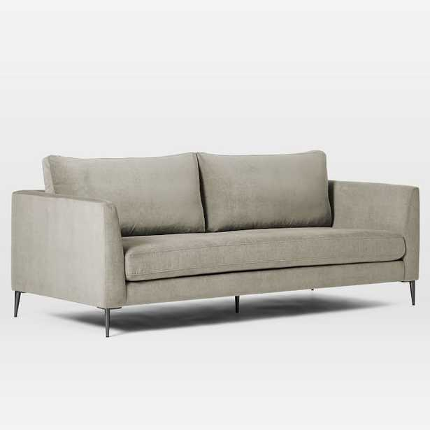 Vail Angled Arm Sofa, Poly, Distressed Velvet, Light Taupe, Brushed Graphite--Quick Ship - West Elm