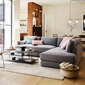 Haven Sectional Set 02 / Right Arm Terminal Chaise Sofa / Gravel Twill, Extra Deep - West Elm