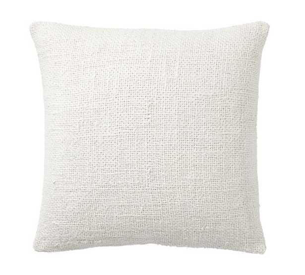 FAYE TEXTURED LINEN PILLOW COVER - IVORY - Pottery Barn