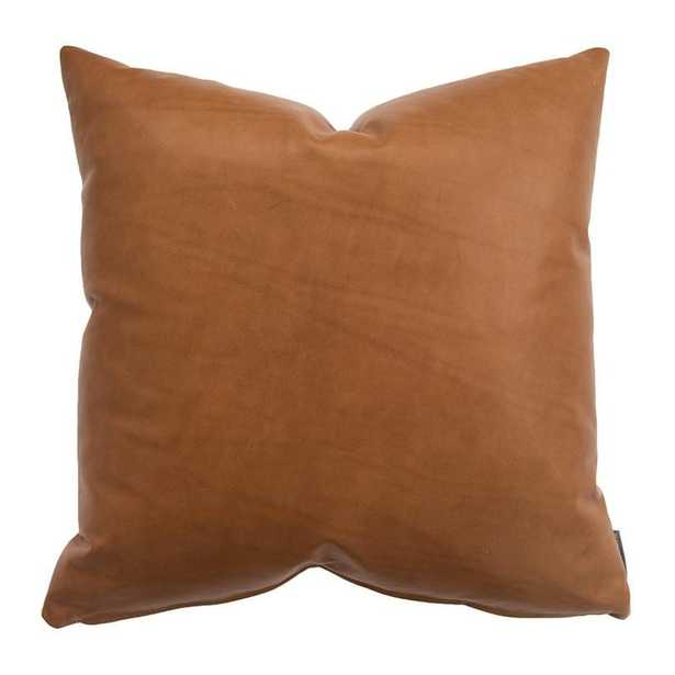 """COGNAC LEATHER PILLOW COVER WITH DOWN INSERT, 22"""" x 22"""" - McGee & Co."""