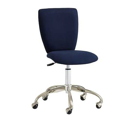 Square Upholstered Desk Chair, Brushed Nickel Base, Navy Twill - Pottery Barn Teen
