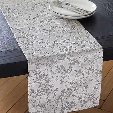 Allover Textured Jacquard Vevet Table Runner, Stone - West Elm
