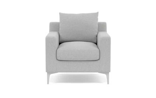 Sloan Petite Chair with Ecru Fabric and Matte White legs - Interior Define