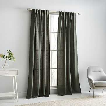 "Belgian Flax Linen Melange Curtain, 48""x84"", Olive - West Elm"