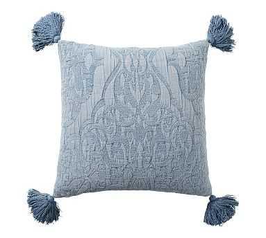 "Aileen Jacquard Pillow, 22"", Chateau Blue - Pottery Barn"