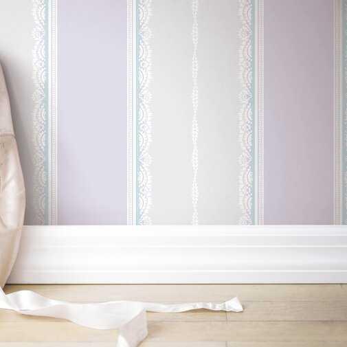 "Huddersfield Frills Stripe Glitter 33' x 20.5"" Wallpaper Roll - Wayfair"