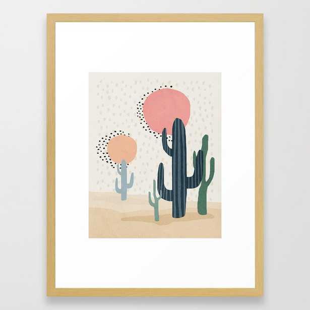 Cacti Desert, Mid century modern kids wall art, Nursery room Framed Art Print - Society6