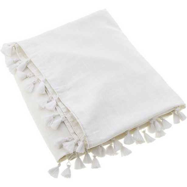 linen white throw with tassels - CB2