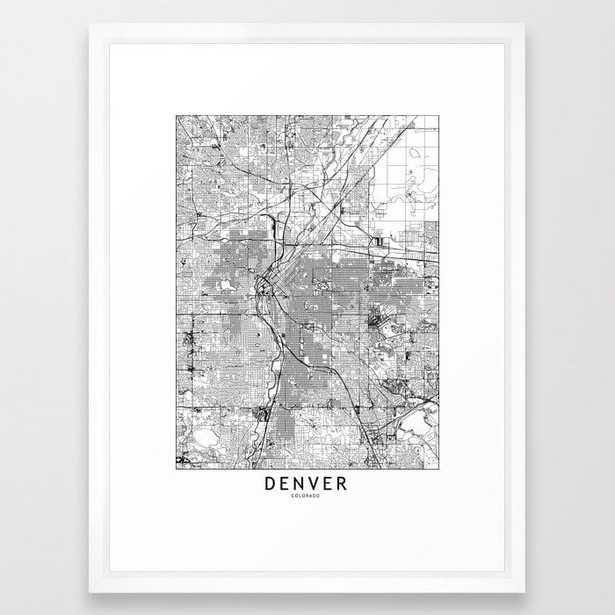 """Denver White Map Framed Art Print - 20"""" x 26"""", vector white frame - Society6"""