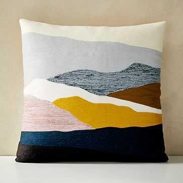 "Crewel Landscape Pillow Cover, 20""x20"", Washed Gemstone - West Elm"