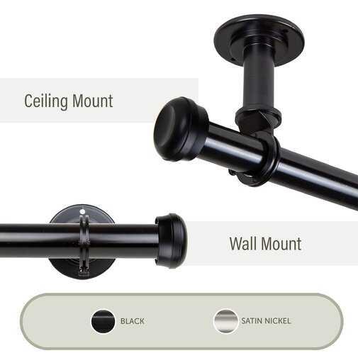 Sewa Single Curtain Rod and Hardware Set Ceiling Mount Black - Wayfair