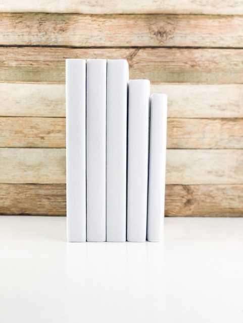 Set of 5 Decorative Books- Solid White - Havenly Essentials