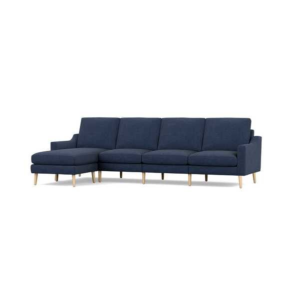 The Slope Nomad King Sectional Sofa in Navy Blue, Oak Legs - Burrow