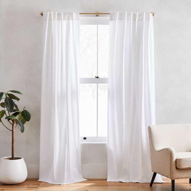 """Cotton Canvas Pole Pocket Curtain, 48""""x96"""", White, Set of 2 Unlined - West Elm"""