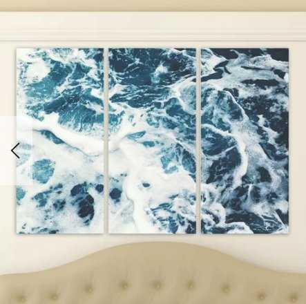 'Mykonos Water I Triptych' 3 Piece Photographic Print on Wrapped Canvas in Blue/White - AllModern