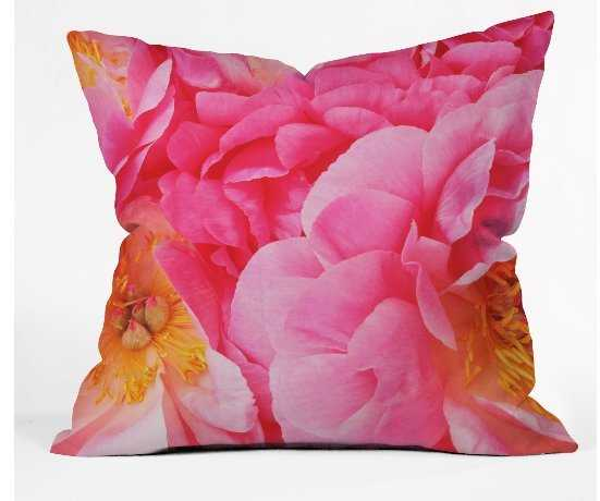 HOT PINK PEONY Throw Pillow - Wander Print Co.