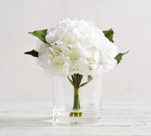 Faux White Hydrangea Composed Arrangement, Medium - Pottery Barn