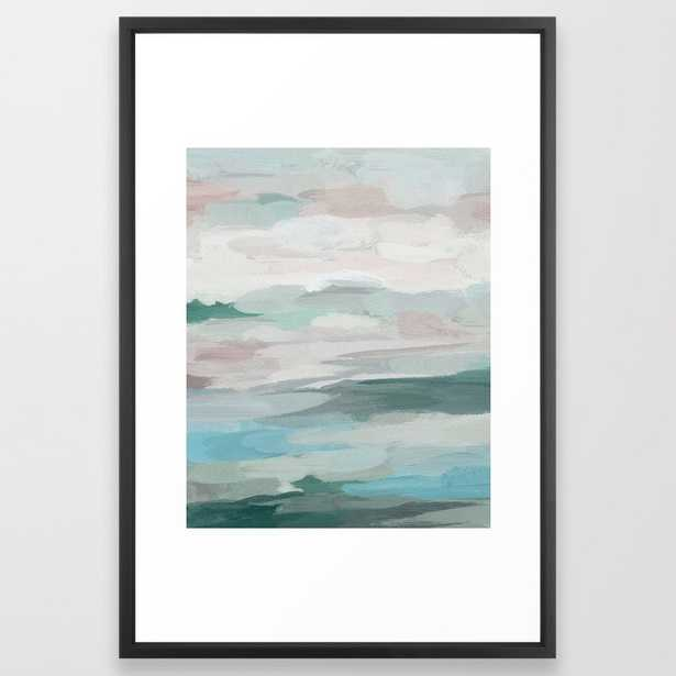 "Sage Green Sky Blue Blush Pink Abstract Nature Sky Wall Art, Water Land Painting Print Framed Art Print, 26""x38"", Vector Black Frame - Society6"