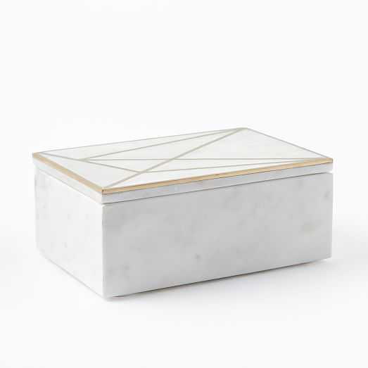 Brass Inlay Marble Box, Rectangle - West Elm