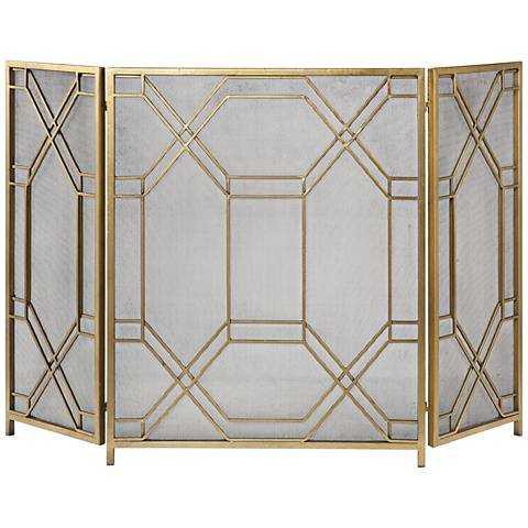"Rosen Antiqued Gold Leaf 34""H Fireplace Screen - Hudsonhill Foundry"