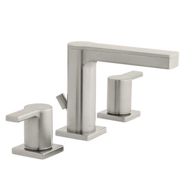 Modern Contemporary 8 in. Widespread 2-Handle Low-Arc Bathroom Faucet in Brushed Nickel - Home Depot