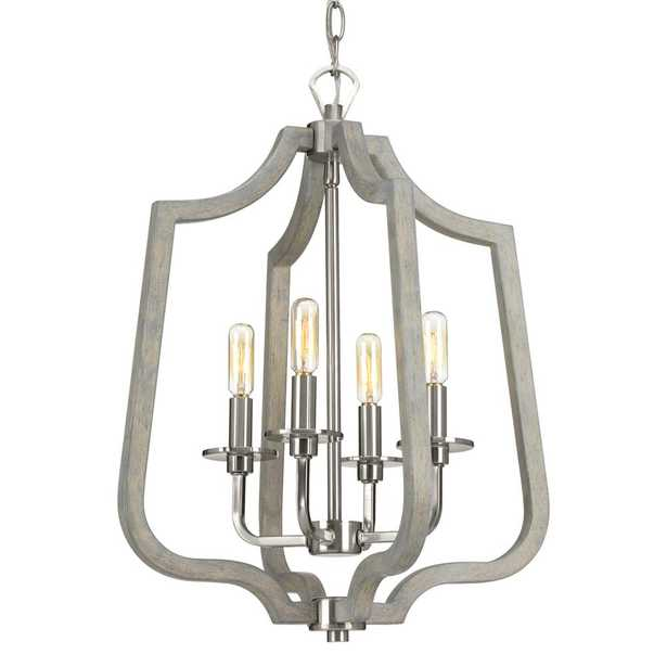 Glenora Collection 4-Light Brushed Nickel Pendant with Weathered Gray Wood Accents - Home Depot