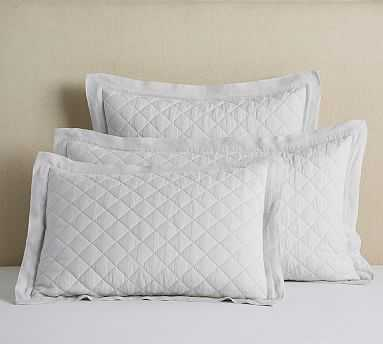Belgian Flax Linen Diamond Quilted Sham, Standard, Classic Ivory - Pottery Barn