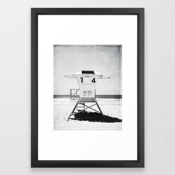 Black and White Beach Photography, Grey Lifeguard Stand, Gray Coastal Nautical Art Framed Art Print - Society6