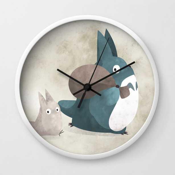 Totoro's creatures illustration Wall Clock, White, Black Hands - Society6
