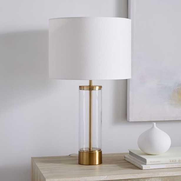 Acrylic Column Table Lamp + USB, Antique Brass-Individual - West Elm