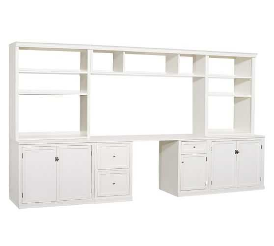 """Logan Large Office Suite with Cabinet Doors, Antique White, 134"""" Wide - Pottery Barn"""