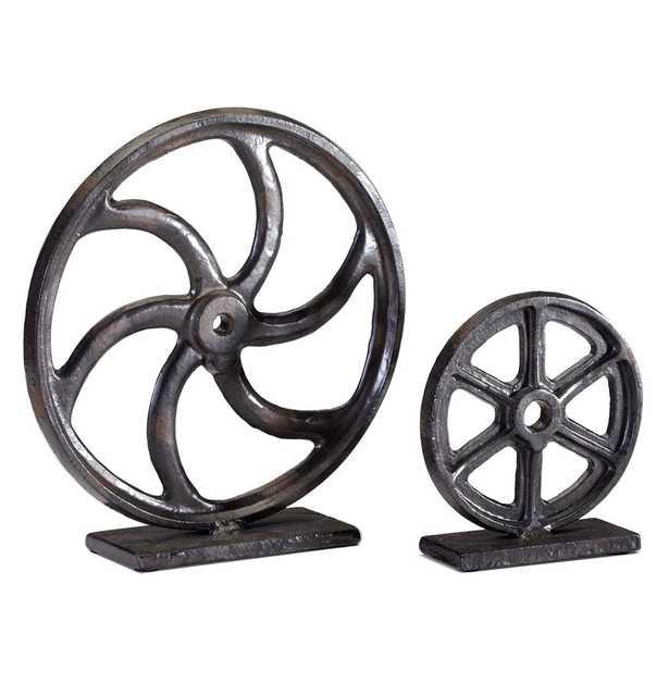 Industrial Loft Iron Mechanics Wheel Sculpture - 10 Inch - Kathy Kuo Home