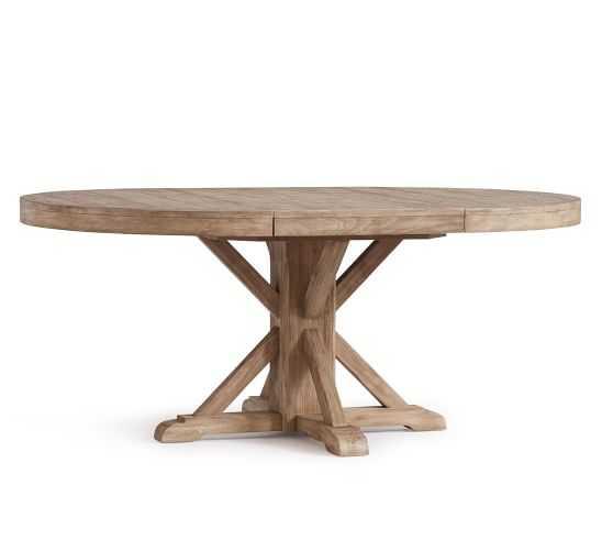 """Benchwright Extending Pedestal Dining Table, 48"""" - 72"""" L, Seadrift - Pottery Barn"""