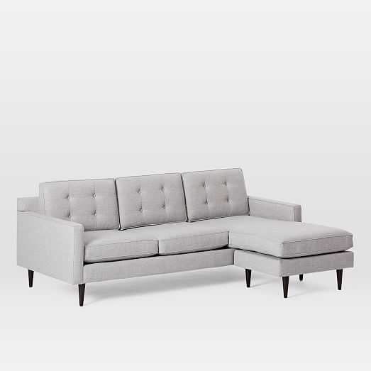 Drake Mid-Century Flip Sectional, Poly, Twill, Silver, Cone Chocolate - West Elm