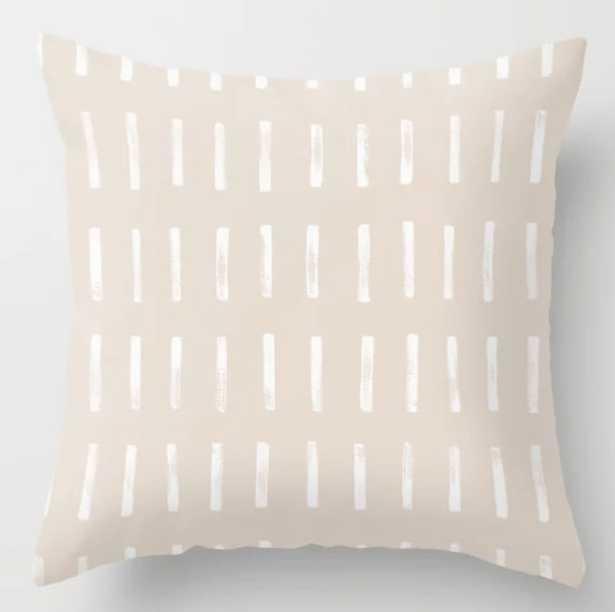 Dash Blush Throw Pillow, 20x20 with insert - Society6