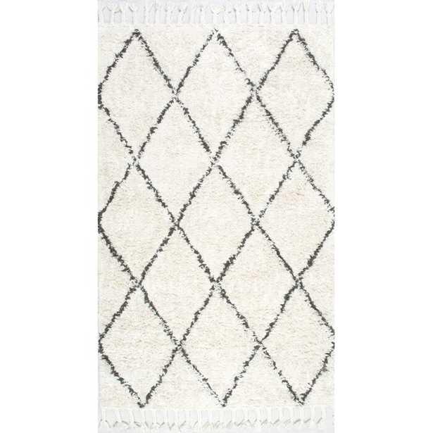 Twinar Geometric Hand-Knotted Wool Off White/Dark Gray Area Rug - Wayfair