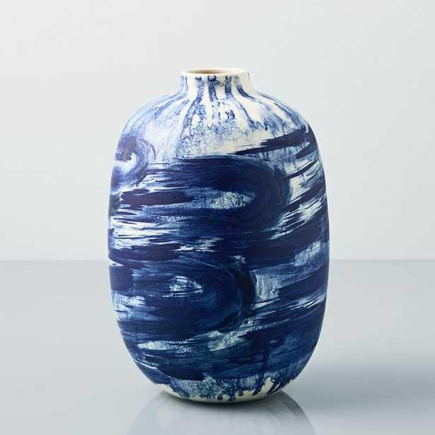"""Abstract Indigo Vase, Large Brushstroke, 12"""" - West Elm"""