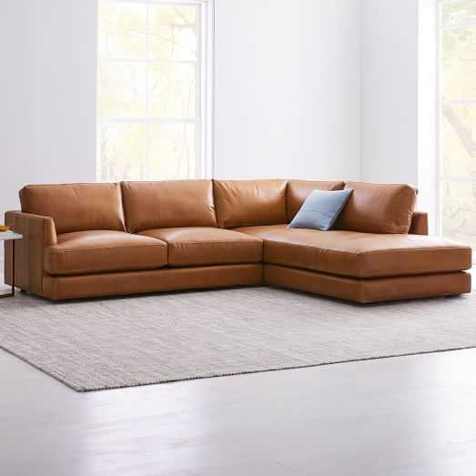 Haven Leather Right 2-Piece Terminal Chaise Sectional - West Elm