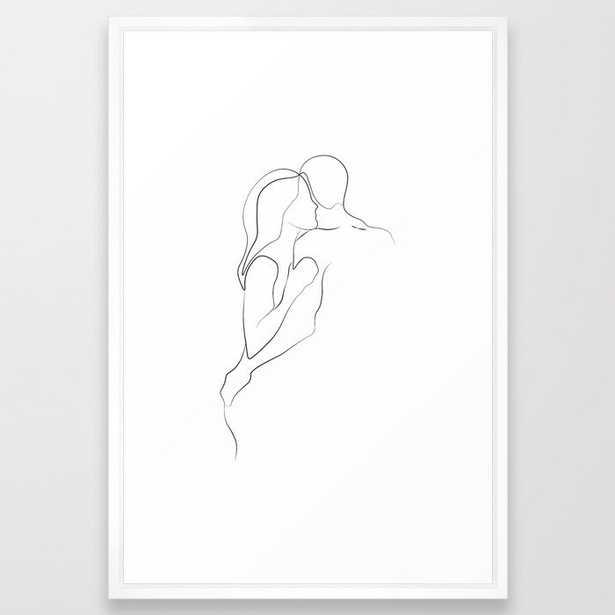 Lovers - Minimal Line Drawing Art Print3 Framed Art Print - Society6