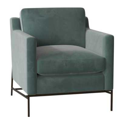 Caracole Classic Sit a Spell Armchair Body Fabric: Spa Velvet, Leg Color: Midnight - Perigold
