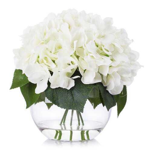 Hydrangea Floral Arrangement in Vase - Wayfair
