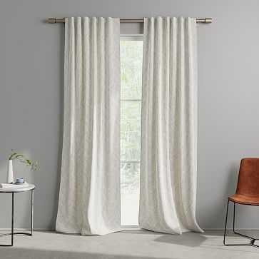 "Cotton Canvas Fragmented Lines Curtains, 48""x108"", Iron Gate - West Elm"
