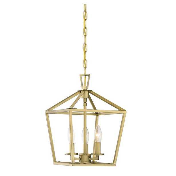 Israel 3-Light Lantern Geometric Pendant / Warm Brass - Wayfair